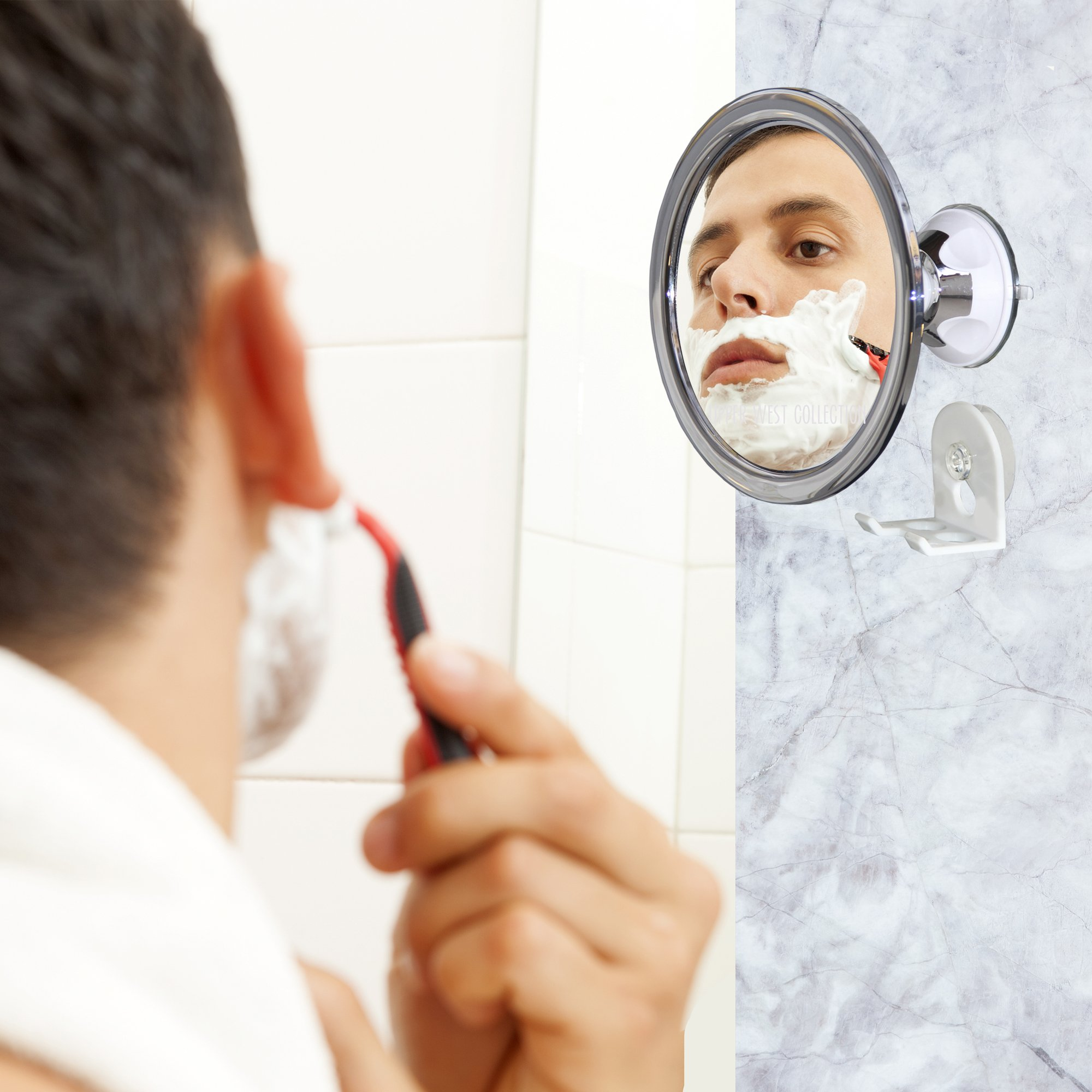 Upper West Collection No Fog Shower Mirror with Rotating, Locking Suction; Bonus Separate Razor Holder   Adjustable Arm for Easy Positioning   Best Personal Mirror for Shaving Available   The by Upper West Collection (Image #5)