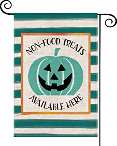 AVOIN Halloween Watercolor Stripes Teal Pumpkin Jack-O'-Lantern Garden Flag Vertical Double Sized, Non-Food Treats Available Here Yard Outdoor Decoration 12.5 x 18 Inch
