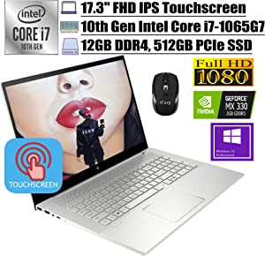 "2020 Premium HP Envy 17 Business Laptop, 17.3""FHD IPS Touchscreen, 10th Gen Intel Quad-Core i7-1065G7, 12GB DDR4 512GB PCIe SSD, 2GB MX330FP Backlit KB Alexa Win 10 Pro + iCarp Wireless Mouse"