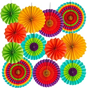 Super Z Outlet Fiesta Colorful Paper Fans Round Wheel Disc Southwestern Pattern Design for Party, Event, Home Decoration (Southwestern 12 Pack)