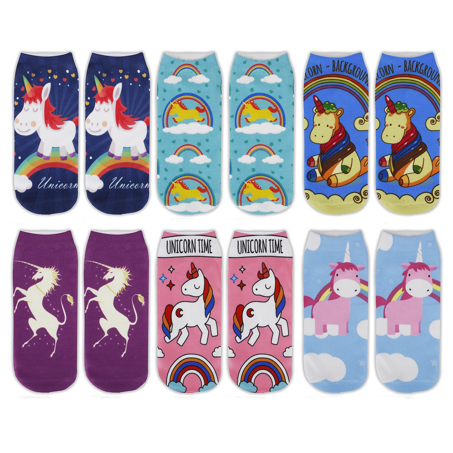 Unicorn Ankle Socks Women Girls Funny Halloween Novelty Cute Cat Dog 3D Printed Colorful Causal Socks