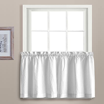United Curtain Dorothy Window Curtain Swiss Dot Kitchen Swag, 54 by 38, White