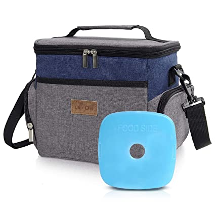 f55e92df3ee3 Lifewit Insulated Lunch Box Lunch Bag for Men Women, 3-Way Carrying Thermal  Lunchbox Lunchbag Bento Bag for Work/School/Picnic, 6L(9-Can) Grey & Blue  ...