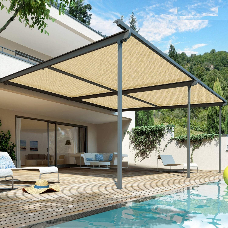 WXQIANG - Sombrilla de 90% tela con ojales para cubierta de pérgola ventilación, ventilación, permeable al agua, luz solar, Fibra sintética, 200cmX500cm: Amazon.es: Hogar