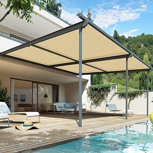 WXQIANG - Sombrilla de 90% tela con ojales para cubierta de pérgola ventilación, ventilación, permeable al agua, luz solar, Fibra sintética, 100cmX200cm: Amazon.es: Hogar