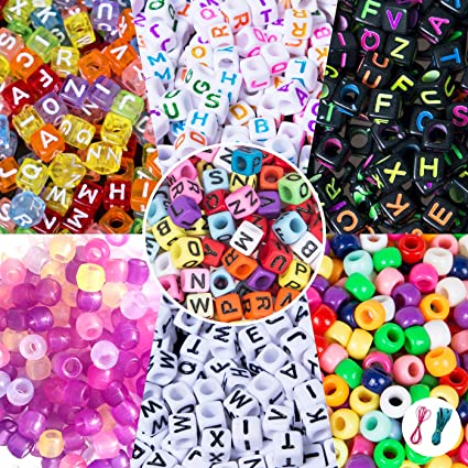 1000 Pieces Bracelet Making Set with Free Tweezer Multi Color Pony Beads Letter Alphabet Large Hole Beads with 8 Rolls Colorful Elastic String for Name Bracelets Jewelry Making DIY Crafts