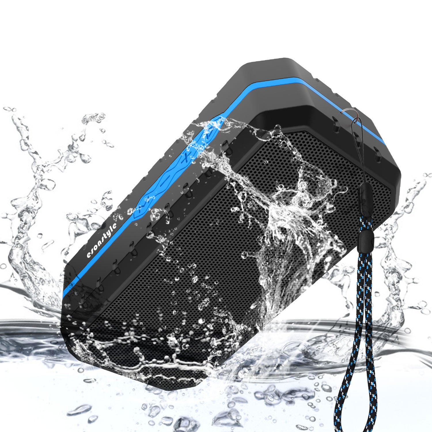 Portable Bluetooth Speaker,Esonstyle Waterproof Outdoor Wireless Speaker with 1800MAH Battery, Build-in Microphone,3.5mm Audio Input, Micro SD and USB Port for Smartphone,Tablet & More (blue) by esonstyle
