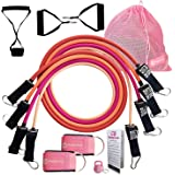 Cheeky Bands Exercise Resistance Band Set - Latex Pull Up Tubes Stackable to 100lbs with Handles, Ankle Straps, Door…