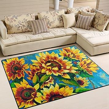 Amazon.de: Naanle Ölgemälde Sonnenblume rutschfeste Bereich Teppich ...