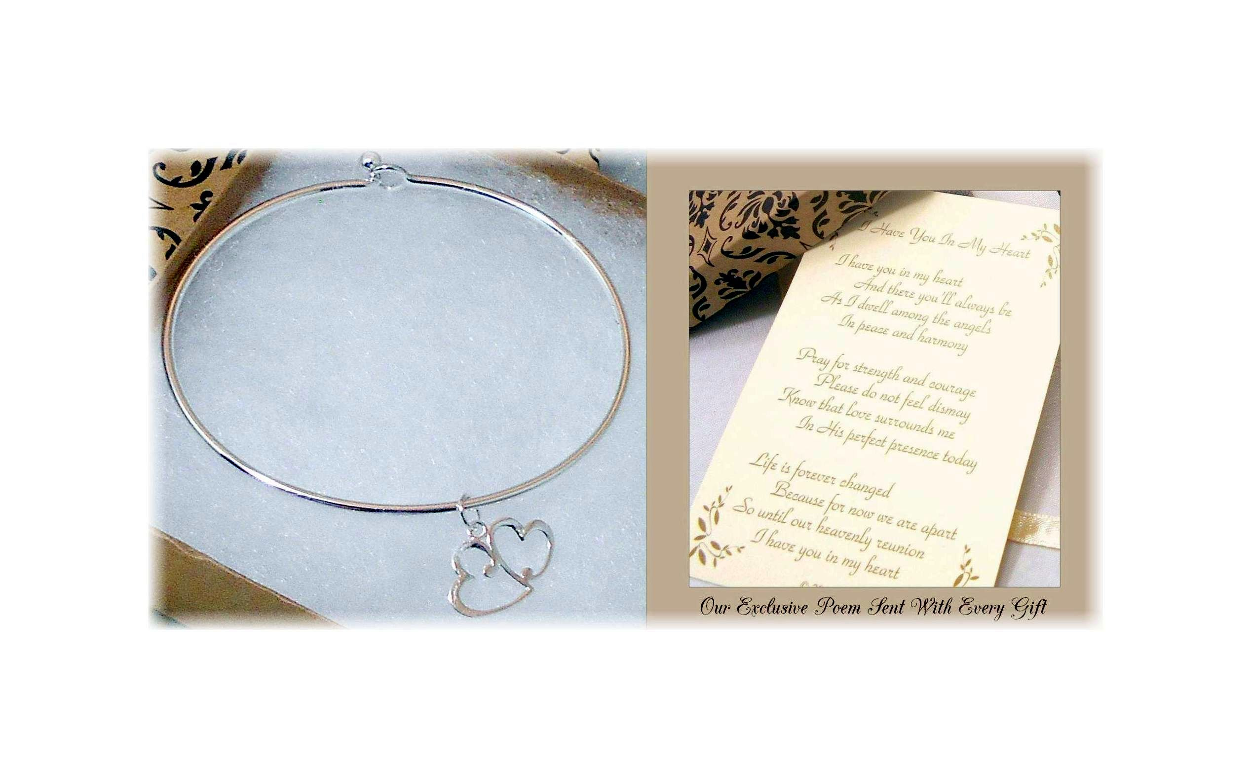Dulaya Memories Sympathy Gift-Send to Memorial-Funeral or Home of Grieving -Bonded Hearts Bracelet