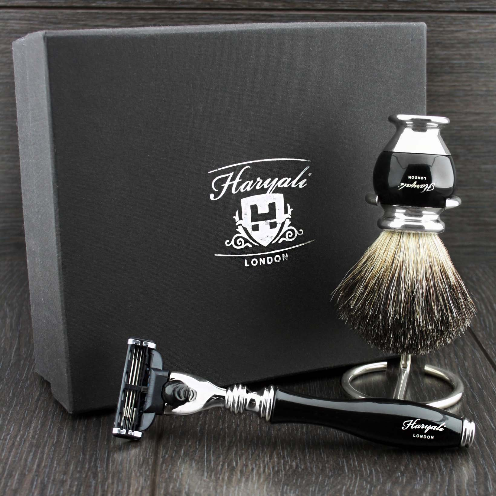 Shaving Gift Set with Gillette Mach 3 Hand Assembled razor , Classic Black Badger Brush and Stands, Great Gift Idea for (New Beginner), (Grand Father), (Father), (Husband) or (Boyfriend). by Haryali L by Haryali London