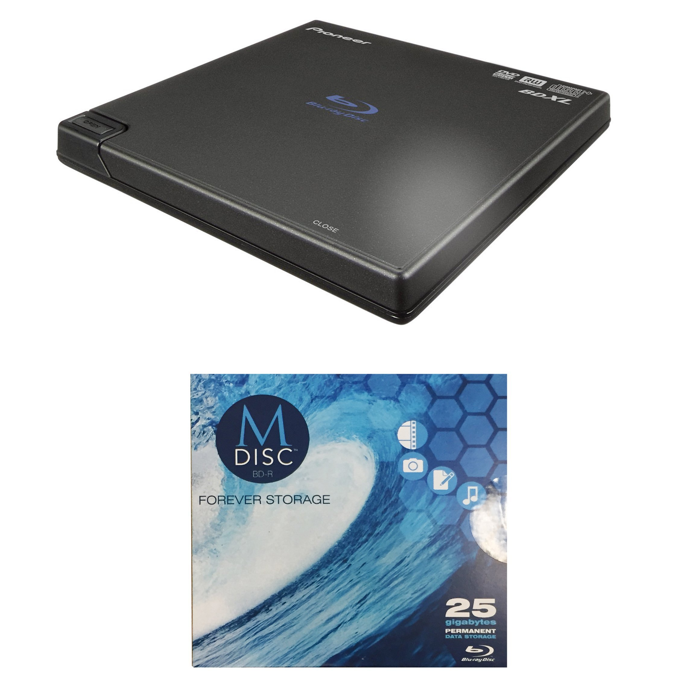 Pioneer BDR-XD05B 6X Slim Blu-ray Burner in Retail Box Bundle with CyberLink Software and 1pk M-Disc BD