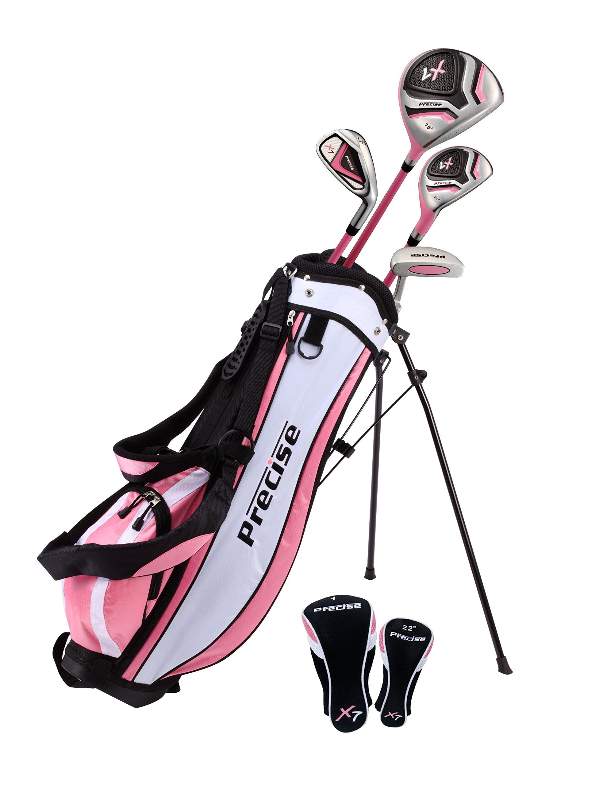 Distinctive Girls Right Handed Pink Junior Golf Club Set for Age 3 to 5 (Height 3' to 3'8'') Set Includes: Driver (15''), Hybrid Wood (22, 7 Iron, Putter, Bonus Stand Bag & 2 Headcovers by Precise
