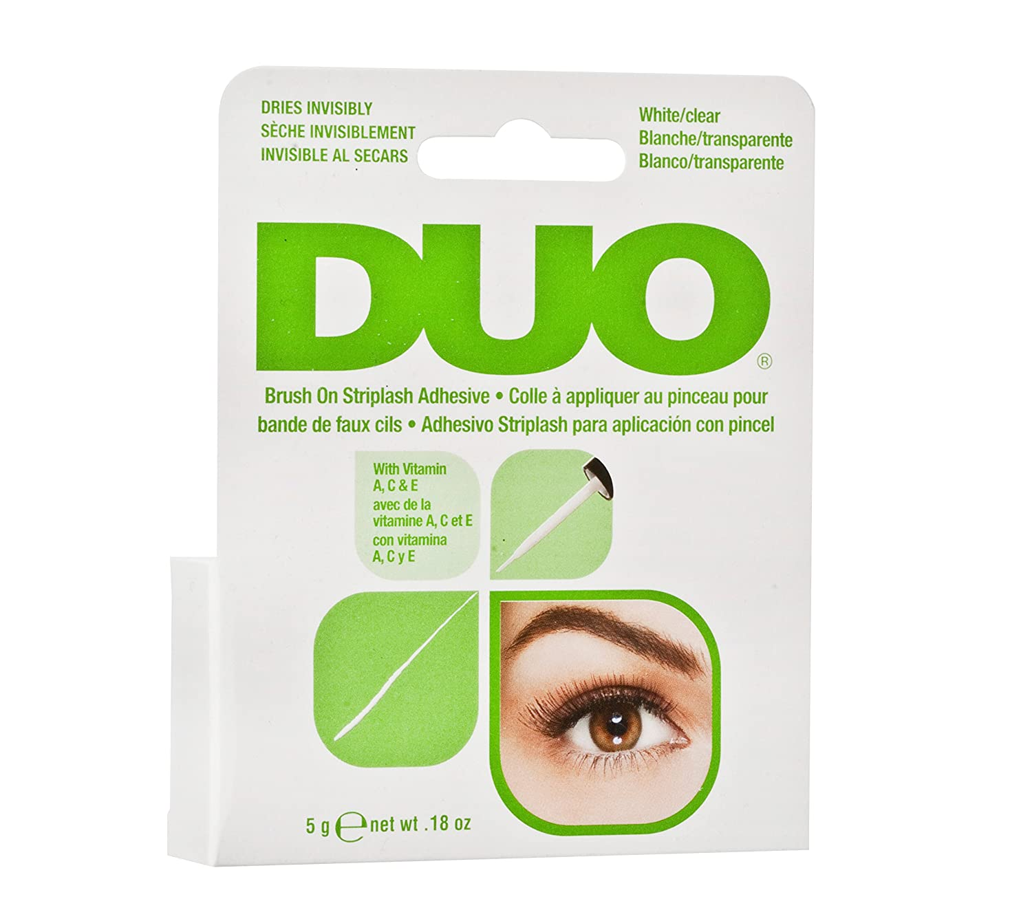 71e92a45bc2 Amazon.com: DUO Brush-On Lash Adhesive with Vitamins A, C & E, Clear, 0.18  oz: Beauty