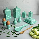City to Cottage Handmade Teal Blue and White Polka Dot Ceramic Kitchen Serving, Storage Set of 10   Large & Small Canisters, Butter Dish, Egg Cups, Salt & Pepper Shakers, Spoon Rest, Gift