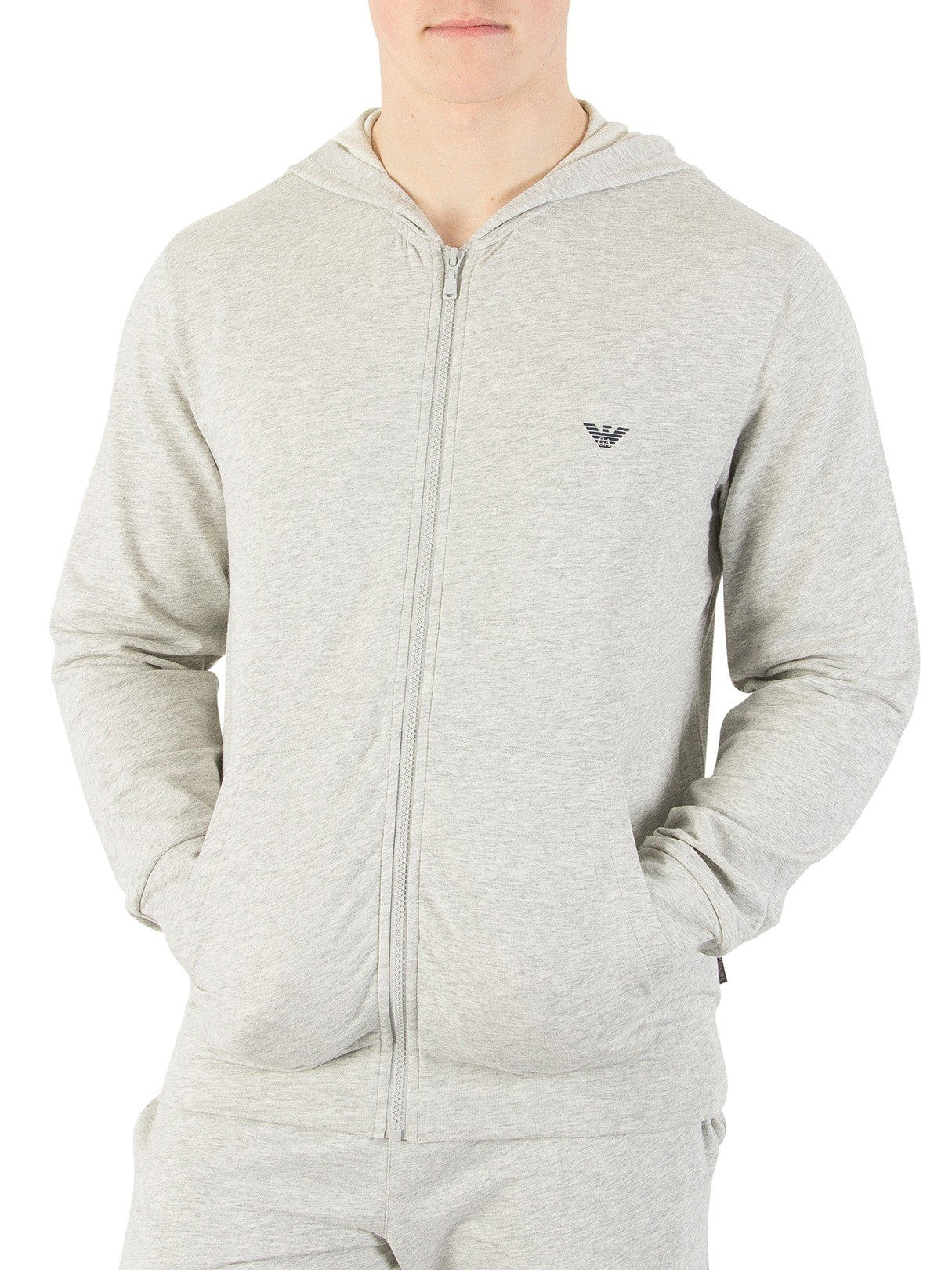 Emporio Armani Men's Zip Loungewear Top, Grey, Small