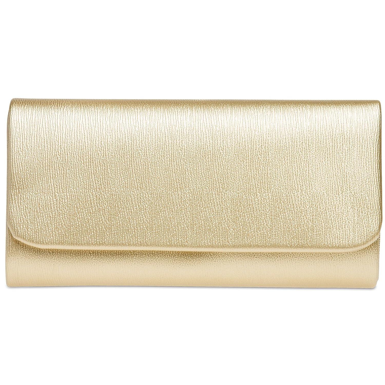CASPAR TA371 Damen Baguette Clutch Tasche Abendtasche Farbe:gold;Größe:One Size 4251085291678