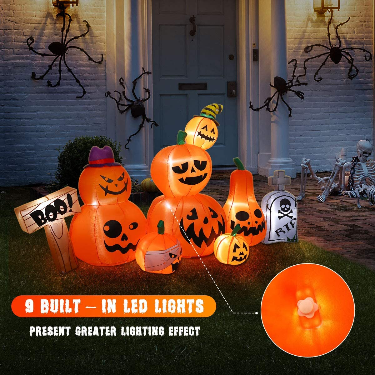 Halloween Inflatable Pumpkins and Tombstone with Built-in LED Lights for Party Holiday Halloween Decoration
