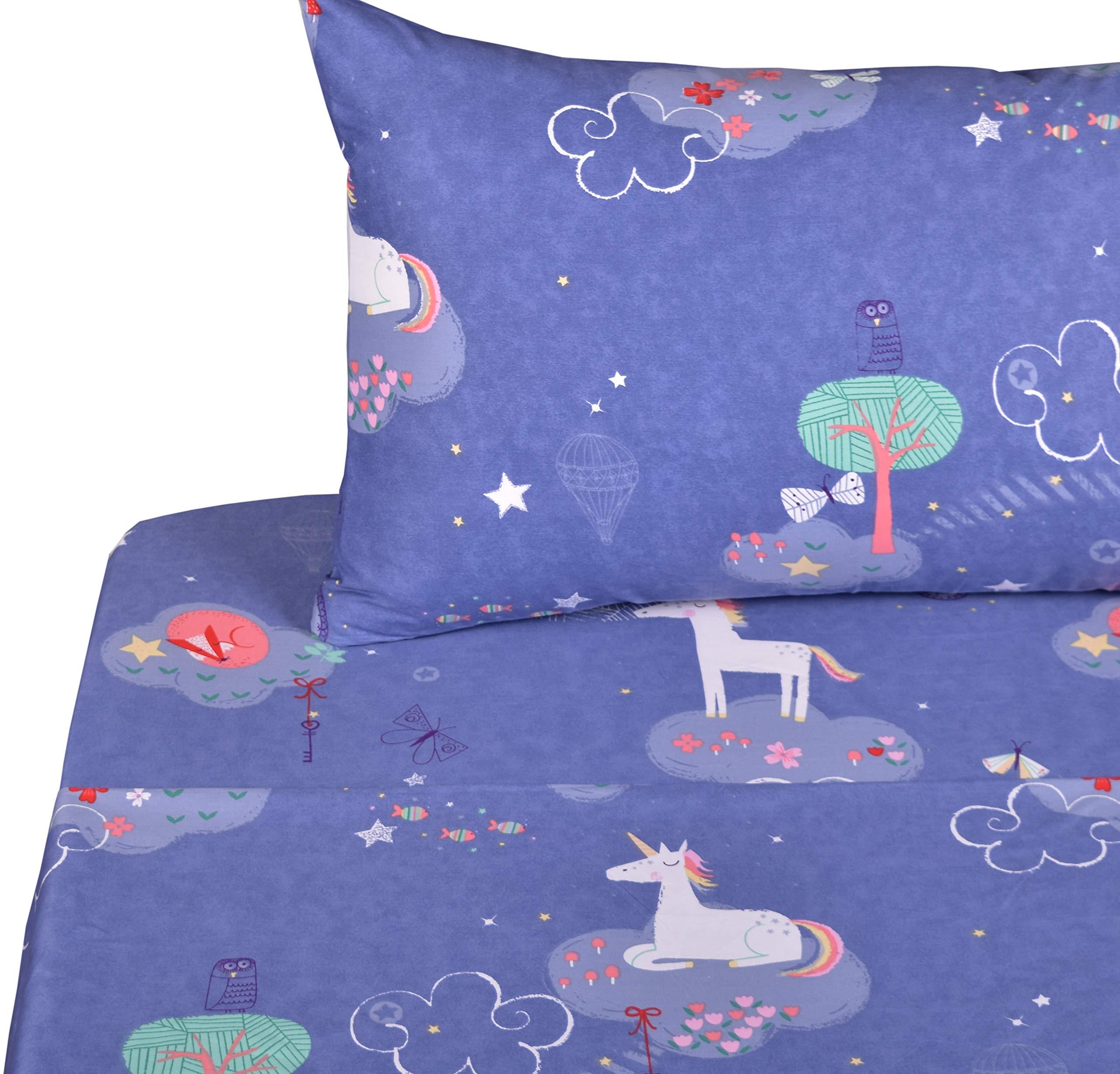 J-pinno Unicorn Dreaming Playing Full Sheet Set for Kids Girl Children,100% Cotton, Flat Sheet + Fitted Sheet + Two Pillowcase Bedding Set (3) by J-pinno