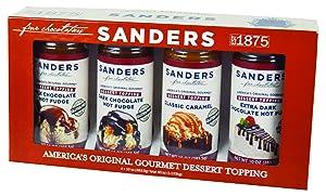 Sanders Sundae Best Gourmet Dessert Topping Gift Box - All-Natural, 4 Flavor Assortment, 40 Ounce (Pack of 1)