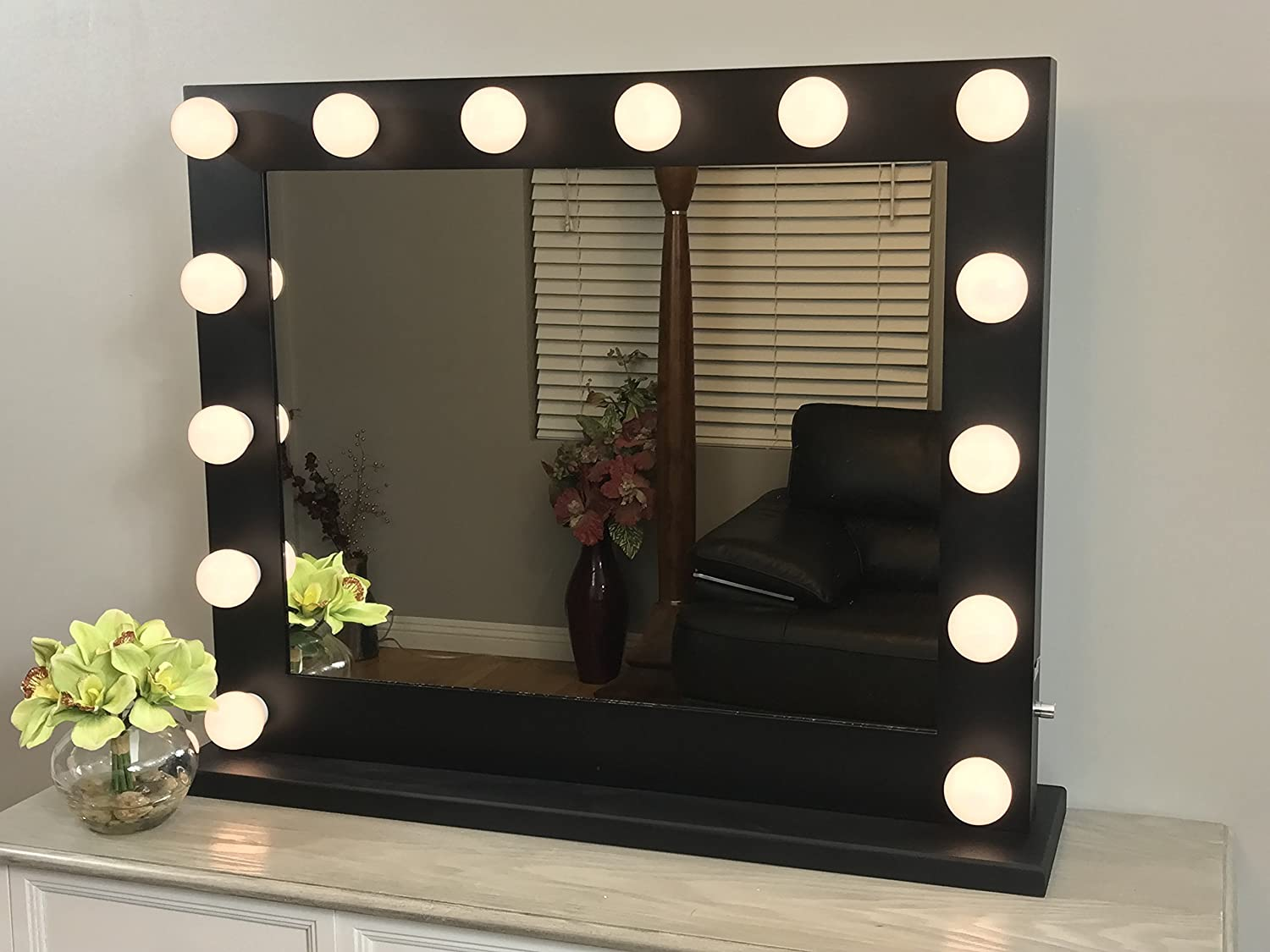 Black Lighted Hollywood Makeup Vanity Mirror with Dimmer,Large Size 31 x 25, Plug-in double Electric and USB Ports with LED Light bulbs included, Tabletop or Wall Mounted Vanity …