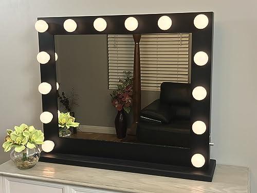 Black Lighted Hollywood Makeup Vanity Mirror