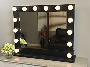 Black Lighted Hollywood Makeup Vanity Mirror with Dimmer,Large Size 31 x  25, Plug,in double
