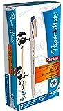 Papermate Replay - Bolígrafo borrable con gomade borrar, punta media (12 unidades), color azul