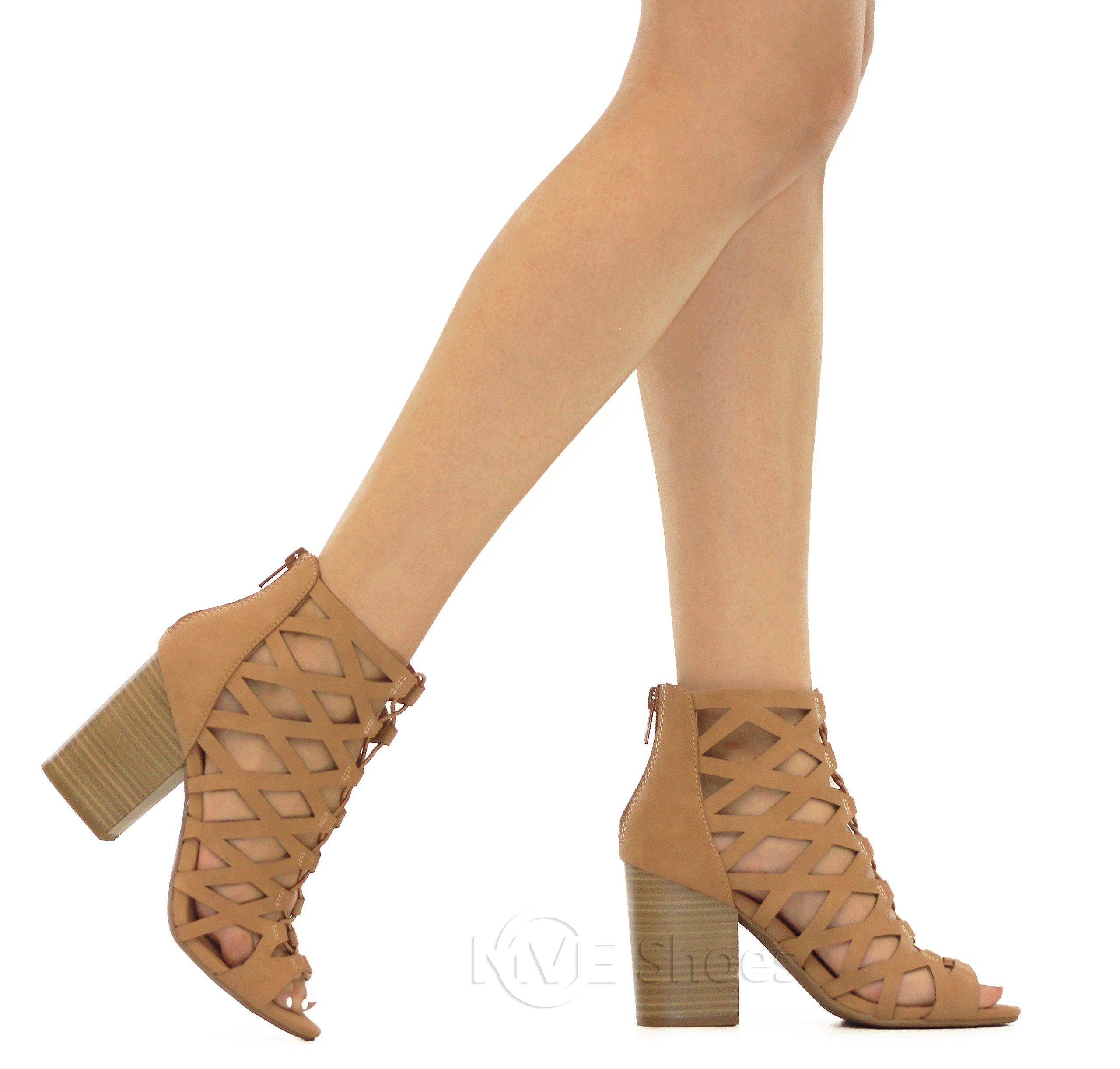 MVE Shoes Women's Open Toe Strappy Back Zipper Chunky Heel, tan nb Size 10 by MVE Shoes (Image #4)