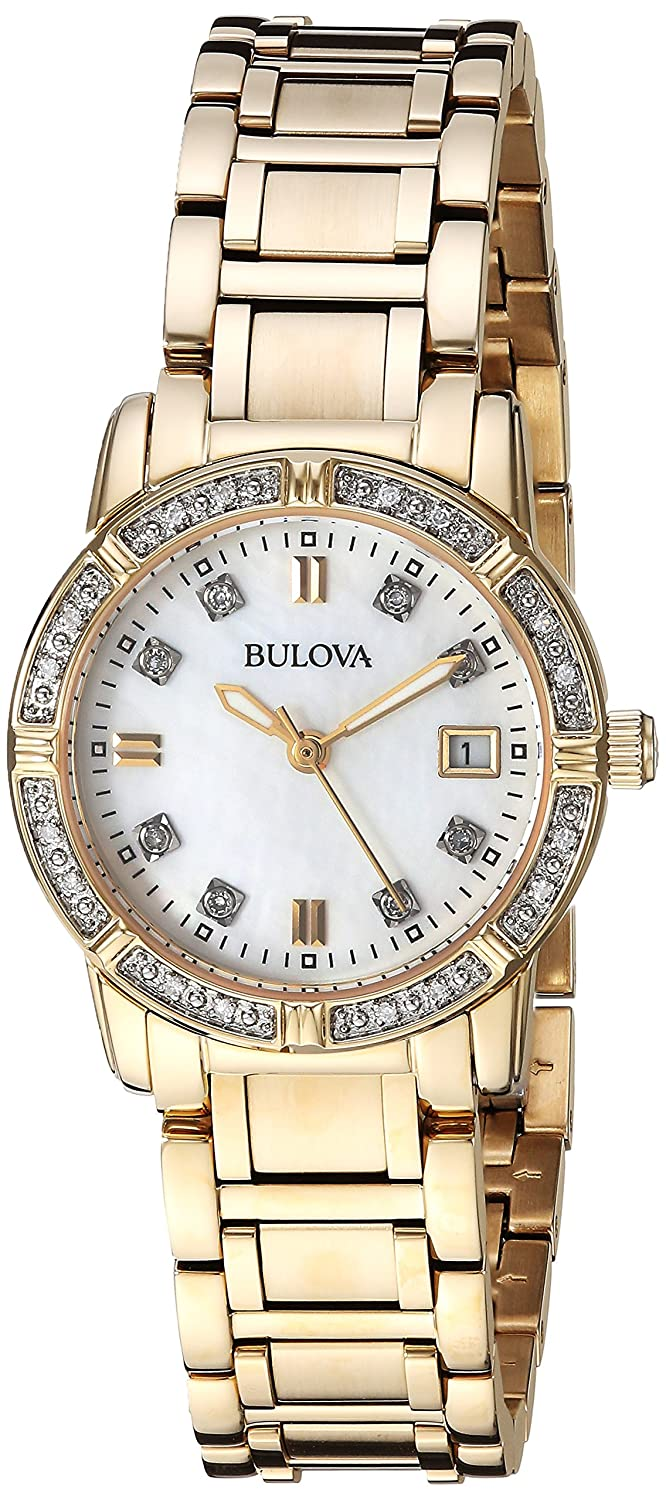 Bulova Women s Quartz Watch with Stainless-Steel Strap, Gold, 13.75 Model 98R135