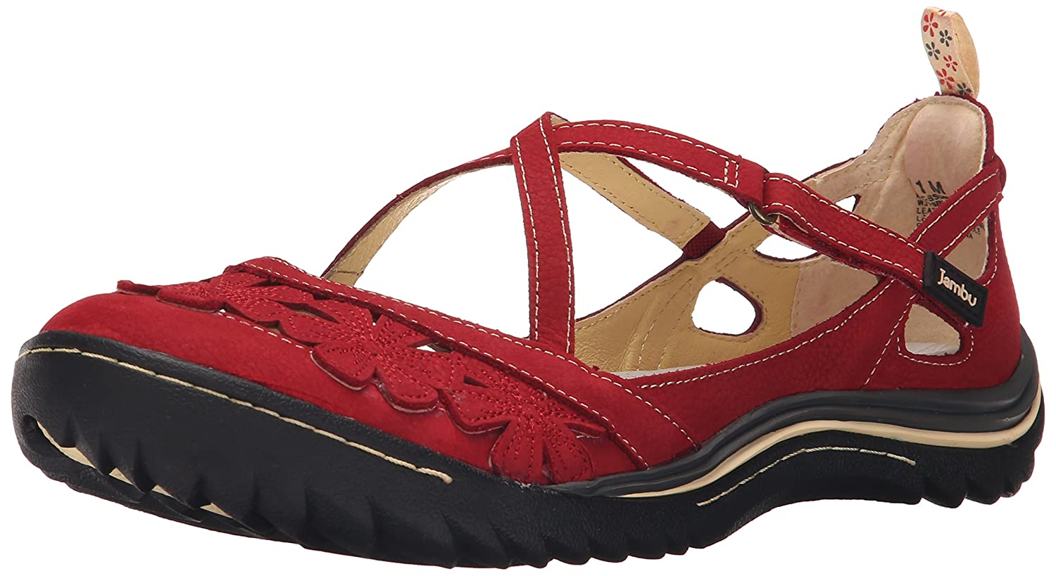 Jambu Women's Blossom Encore Mary Jane Flat B005AFEVNC 8 W US|Red
