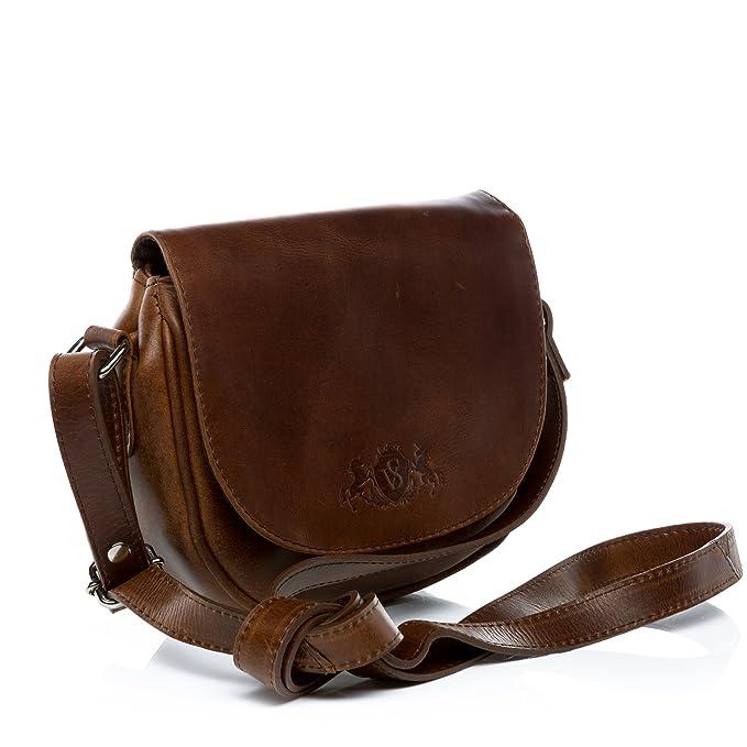 SID & VAIN® Bandolera BRIGHTON Bolso de hombro Cartera cruzada con asa bandolera para el hombro piel marrón: Amazon.es: Equipaje