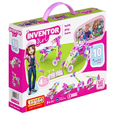 Engino Inventor Girl 10, STEM Model Construction System, Build Stem Skills, 75 Parts, Parts Separating Tool Included, ENG-IG10 Toy: Toys & Games