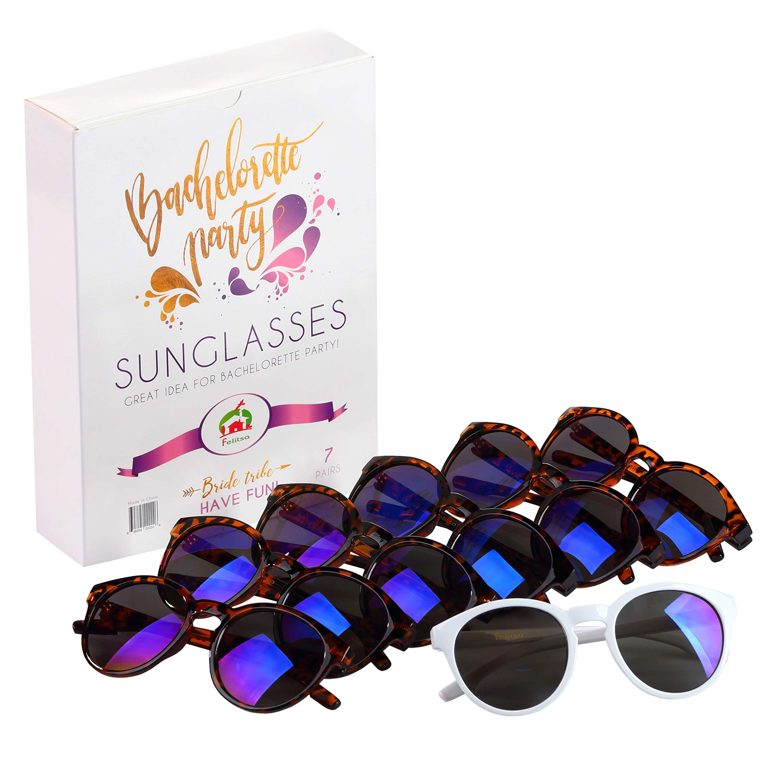 Felitsa Bachelorette Party Sunglasses - 7 Pairs of Bride Tribe Glasses - Perfect for Bridesmaid Gifts, Bridal Shower and Bachelorette - Great bachelorette party decorations by Felitsa