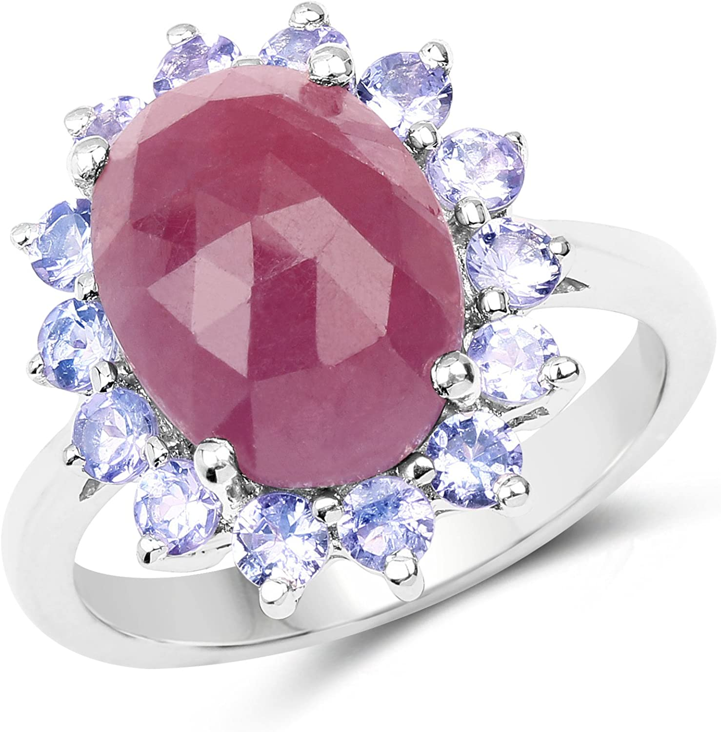 1 Ct Pink Sapphire /& Diamond Oval Ring .925 Sterling Silver
