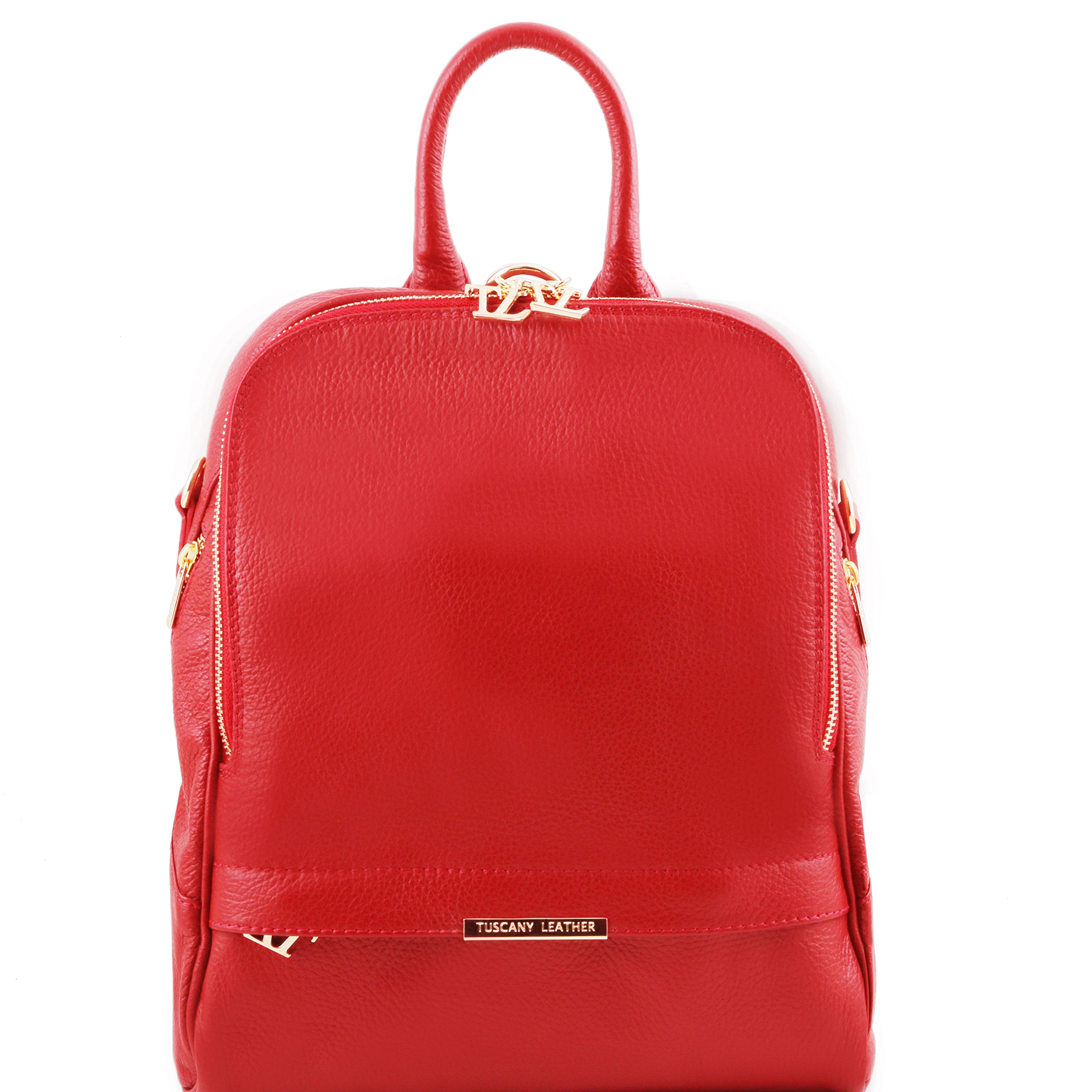Tuscany Leather TLBag Soft leather backpack for women Red