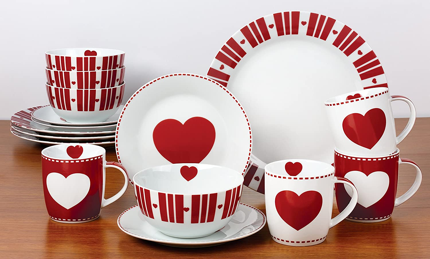 & 16 Piece Nordic Heart Dinner Set: Amazon.co.uk: Kitchen u0026 Home