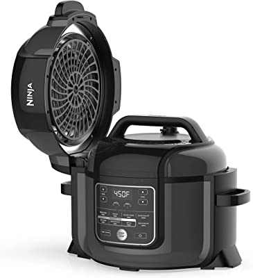 Ninja OP302 Foodi 9-in-1 Pressure, Broil, Dehydrate, Slow Cooker, Air Fryer, and More, with 6.5 Quart Capacity and 45 Recipe Book, and a High Gloss Finish