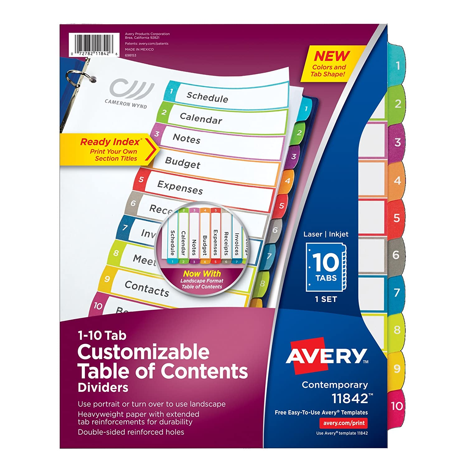Avery Customizable Table of Contents Dividers, 10-Tab Set (11842) Avery Products Corporation
