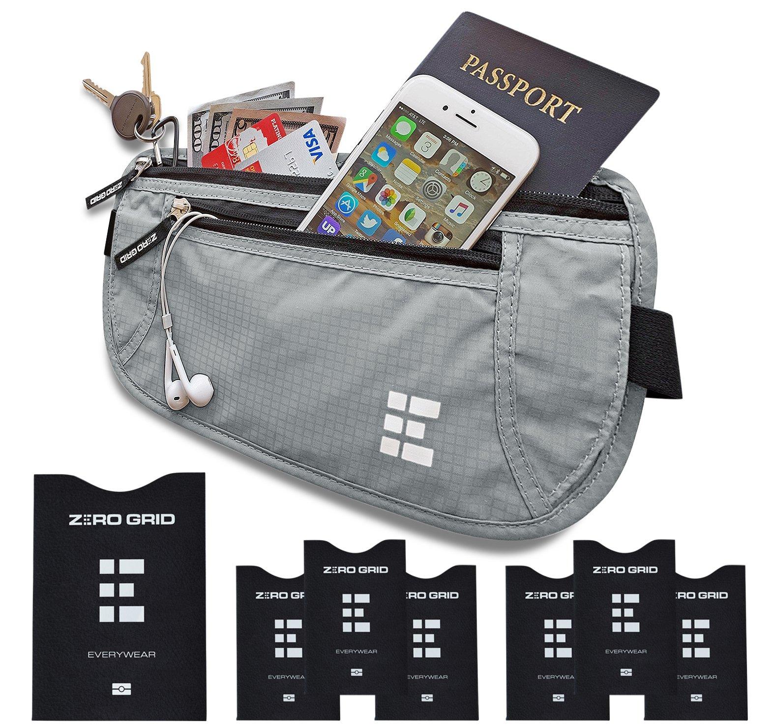 Zero Grid Money Belt w/RFID Blocking - Concealed Travel Wallet & Passport Holder, Ash