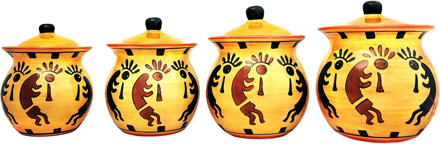 ACK Western Kokopeli Hand Painted Ceramic Collection (CANISTER SET)