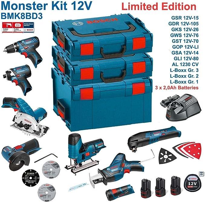 BOSCH Kit 12V BMK8BD3 (GSR 12V-15 + GDR 12V-105 + GKS 12V-26 + GWS 12V-76 + GST 12V-70 + GOP 12V-LI + GSA 12V-14 + GLI 12V-80 + 3 x 2,0Ah +
