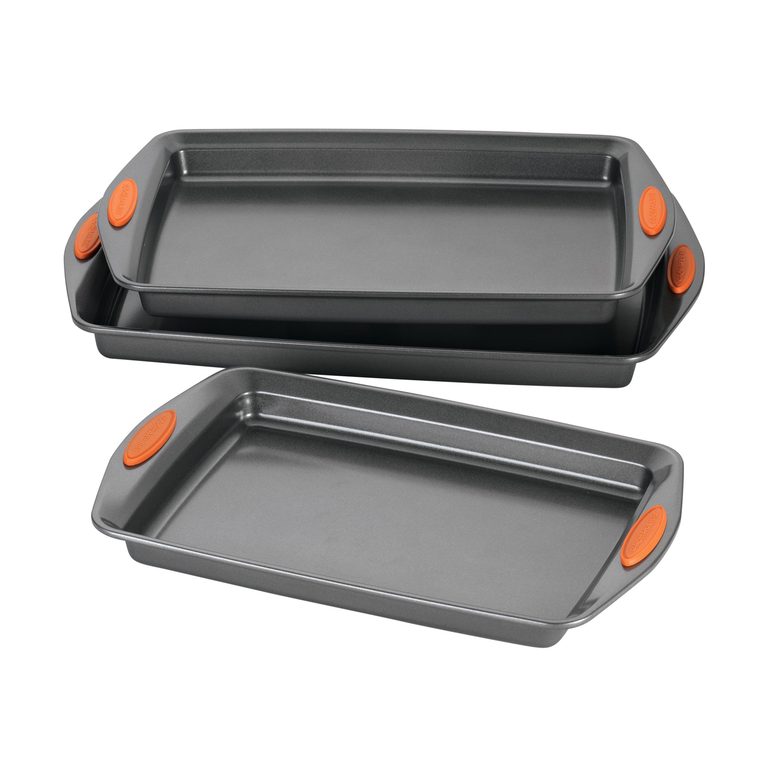 Rachael Ray Yum-o! Nonstick Bakeware 3-Piece Oven Lovin' Cookie Pan Set, Gray with Orange Silicone Grips by Rachael Ray (Image #2)