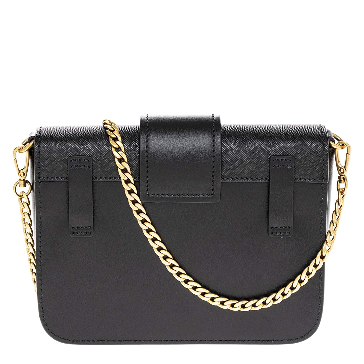 39902616 Amazon.com: Prada Black Cahier Calf Leather Belt Bag with Chain ...