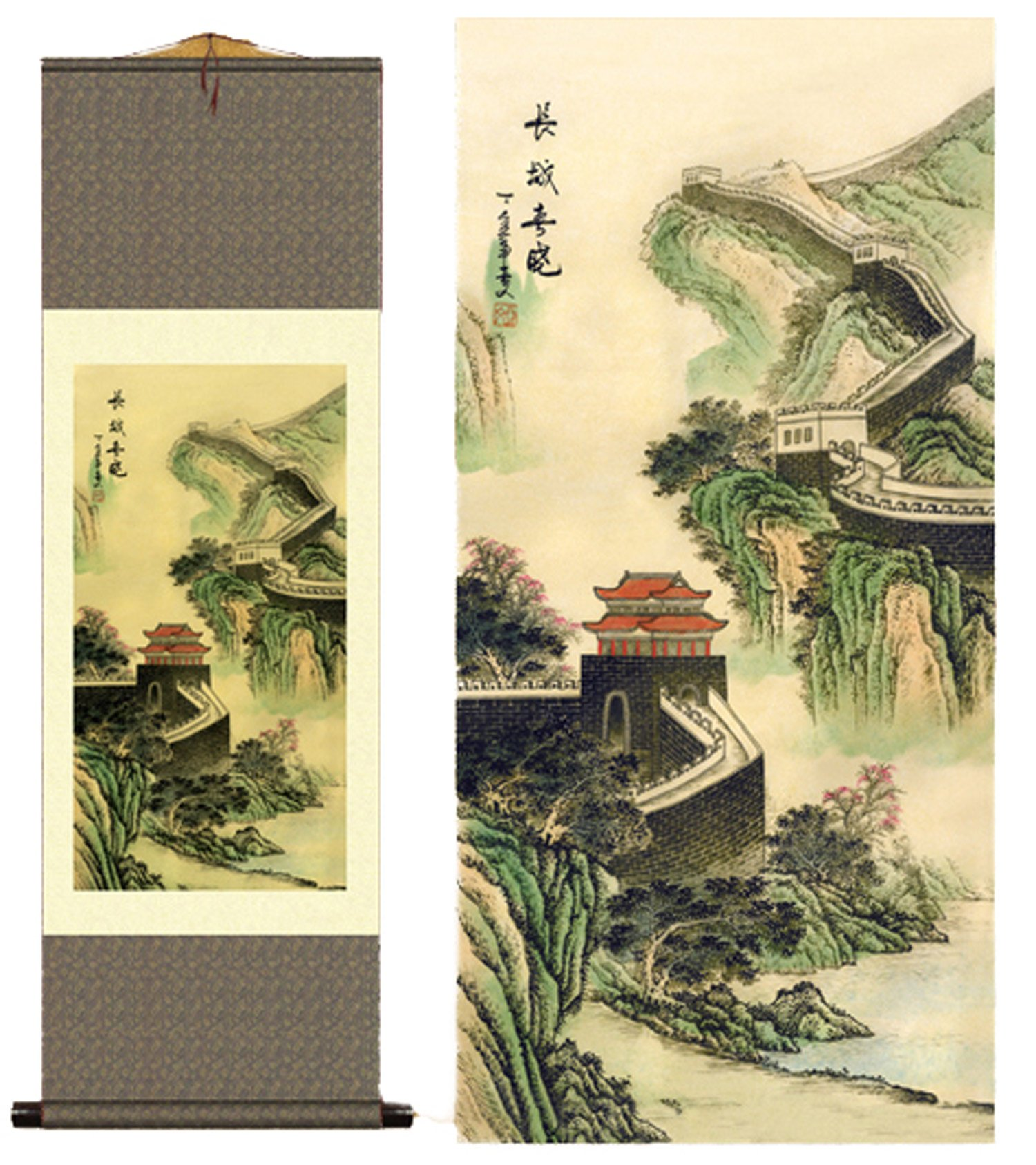 Grace Art Asian Wall Scroll, The Great Wall of China in Spring