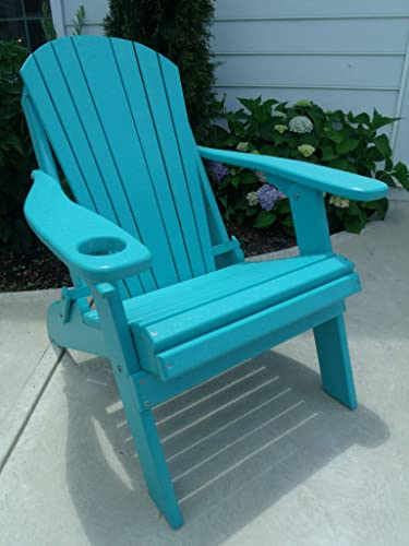 Furniture Barn USA Premium Folding Adirondack Chair w Cup Holder – Poly Lumber – Aruba Blue
