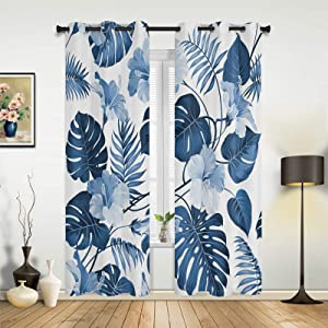 Beauty Decor Window Sheer Curtains for Bedroom Living Room Hawaiian Tropical Blue Palm Leaves Gorgeous Flowers Bloom Elegant Window Drapes Grommet Top Airy Window Treatment Set of 2 Panels- 40''x84''