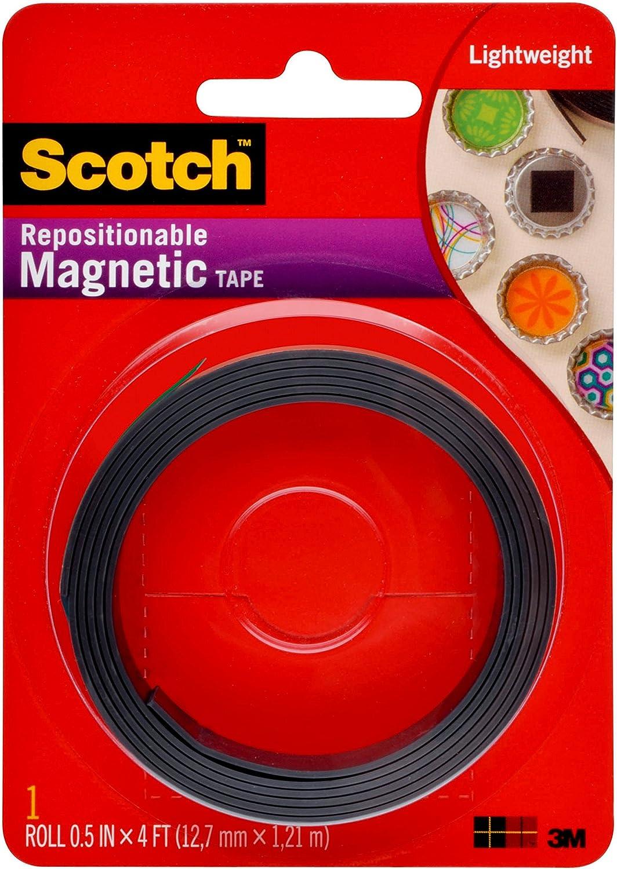 Scotch Brand Scotch 0.5-Inch x 4-Feet Magnetic Tape (MT004.5), Pack of 1, White