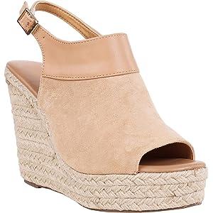 f87e5dec597 Syktkmx Womens Espadrille Platform Wedge Heel Peep Toe Ankle Strap  Slingback Suede Sandals