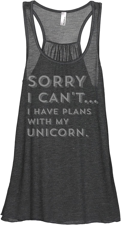 Sorry Plans with My Unicorn Womens Sleeveless Flowy Racerback Tank Top